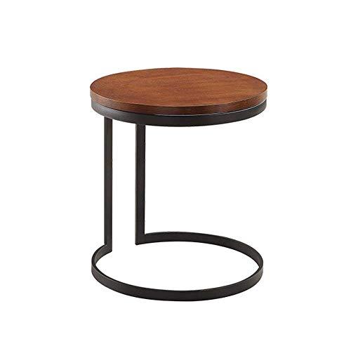Axdwfd Table de téléphone mobile de table basse de table d'appoint de sofa rond, parfait pour le balcon de la chambre à coucher du salon café 50 * 56CM (brun)