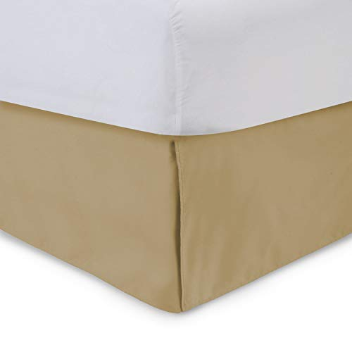 Harmony Lane Tailored Bedskirt - 21 inch Drop, Gold, King Bed Skirt with Split Corners (Available in and 16 Colors)
