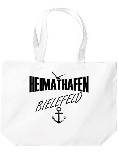 Shirtstown Beutel, Heimathafen Bielefeld, Spruch Sprüche einkaufen Logo Motiv extra große Tasche, Farbe weiß