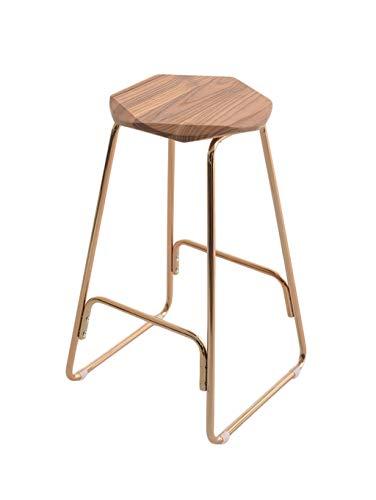 Barstoolri barkruk, ergonomische zitting, sterk metalen frame van hout voor thuis, keuken, ontbijt #1