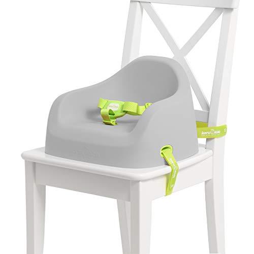 Koru Kids® Toddler Booster – Sitzerhöhung Stuhl Kind – sicherheitsgeprüft – Reisehochstuhl – Made in Germany – für Kinder ab 12 Monaten bis 7 Jahre + (Grey)