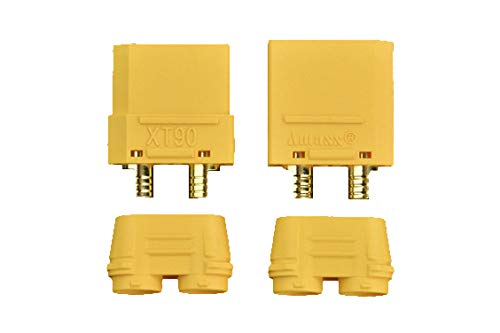 pzsmocn XT90 Banana Plug/Gold Plated XT90 Male & Female Bullet Connector,Non-Flammable,Low Resistance,High Current Resistance,Easy to Plug,UL/CE-Certified.for Battery,Electronic Governor,Controller