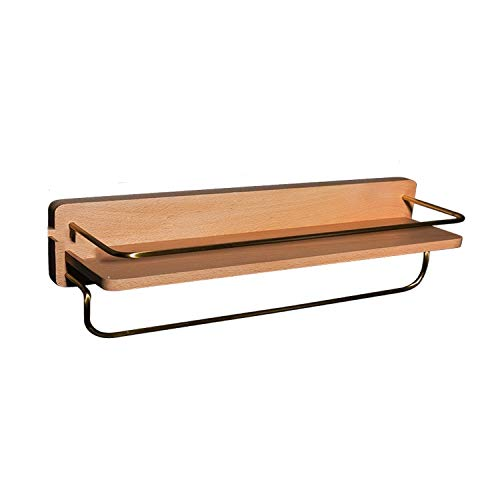 ZYLBL Estante de baño de madera de latón organizador de cosméticos con toallero para jabón, champú, acondicionador, gel de ducha, limpiador facial de almacenamiento (M)