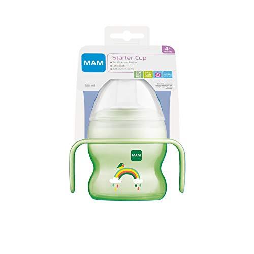 MAM Starter Cup Baby Trinklernbecher (150ml), Trinkflasche für erste Trinkversuche, Schnabelbecher mit rutschsicheren Griffen, ab 4 Monaten, Regenbogen