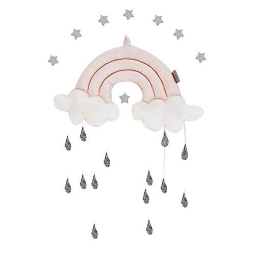 Mengonee Neugeborene Wolke Regenbogen Regentropfen Wand Spielzeug Baby-Bett-Zelt-Anhänger Krippe Hanging Toy Room Ornament Baby-Foto Props