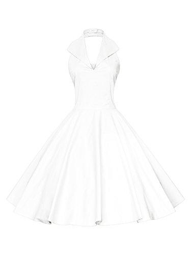 Maggie Tang Women's 1950s 60s Vintage Rockabilly Halter-Neck Swing Dress WT XL White