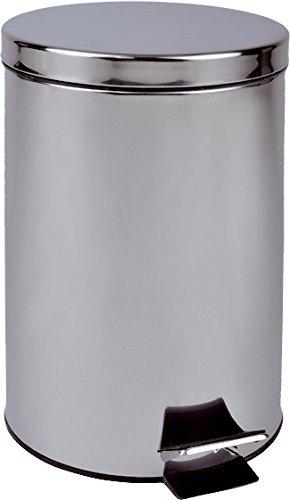 Home & Style 100499 Poubelle à Pédale, Acier Inoxydable, Argent, 30 x 30 x 42 cm
