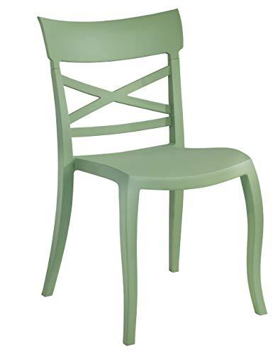 Indoor Stuhl, Outdoor Stuhl, Esszimmerstuhl, Design-Stuhl, Terrassenstuhl, Gartenstuhl, Landhausstuhl, stapelbar, Stuhlfarbe:Grün