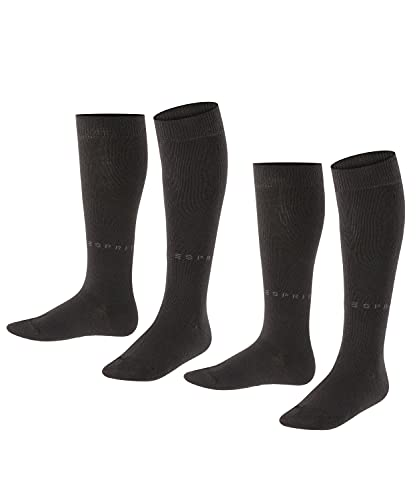 ESPRIT Unisex Kinder Foot Logo 2-Pack K KH Hausschuh-Socken, Schwarz (Black 3000), 31-34 (2er Pack)
