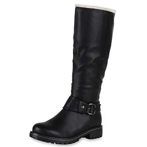 SCARPE VITA Warm Gefütterte Damen Stiefel Biker Boots Winter Bikerstiefel 127167 Schwarz Black 38