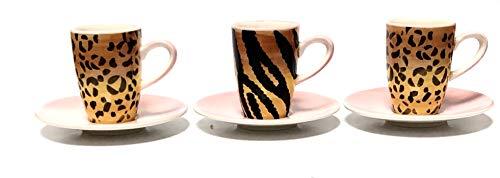 R&B Mila Espressotasse mit rosa weißem Unterteller, Gemustert (Leopard)