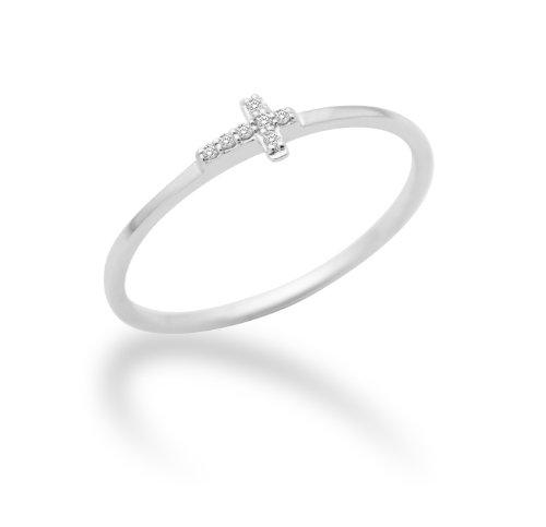 Miore Damen-Ring 18 Karat (750) weißgold Kreuz mit Brillanten 0.03ct MF8015RW