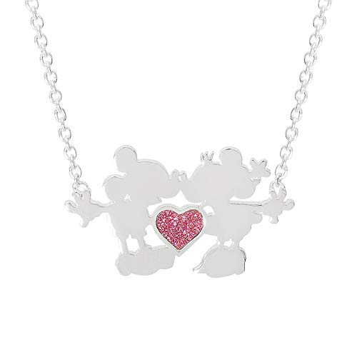 Disney Jewelry for Women and Girls, Silver Plated Mickey and Minnie Mouse Kiss with Pink Glitter Heart on 18