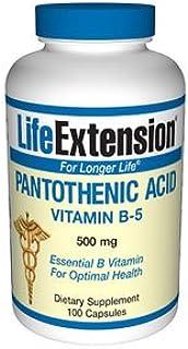 Ácido pantoténico Vitamina B-5. 500 mg. 100 Cápsulas - Extensión