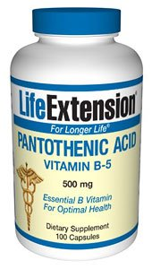 Life Extension 500mg Ácido Pantoténico 100 Cápsulas Vegetarianas 200 g