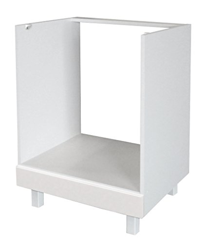 Berlioz Creations CF6BB Küchenschrank für Einbauofen Hochglanz Weiß 60 x 52 x 83 cm