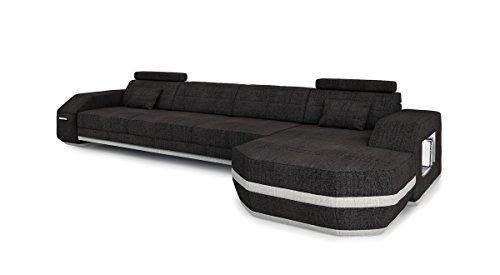 Sofa Couch Stoff Wohnlandschaft modern Design Ecksofa L-Form mit LED-Licht Beleuchtung FRANKFURT III