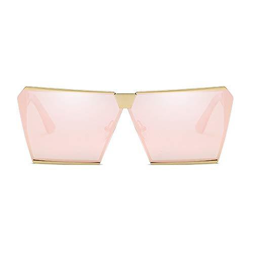 LCSD Gafas de sol polarizadas de moda, cuadradas, color dorado, marco grande, unisex, protección UV400 (color: rosa)