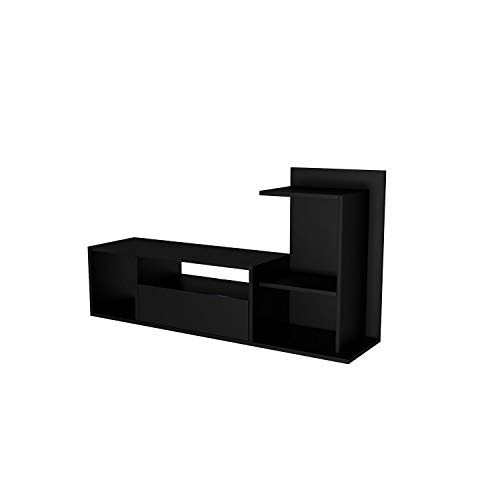 The Furniture Project Meuble TV Design Sumatra - L. 120 x H. 65 cm - Noir