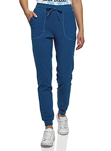 oodji Ultra Donna Pantaloni Sportivi con Laccetti, Blu, XL