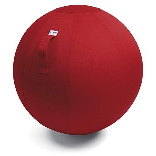 VLUV LEIV Stoff-Sitzball, ergonomisches Sitzmöbel für Büro und Zuhause, Farbe: Ruby (rubinrot), Ø 70cm - 75cm, Möbelbezugsstoff, robust und formstabil, mit Tragegriff