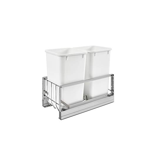 Rev-A-Shelf 5349-1527DM-2 11.69-Inch Double 27 Quart Kitchen Cabinet Pull Out Waste Container Storage with 2 Trash Cans and Wire Basket, White