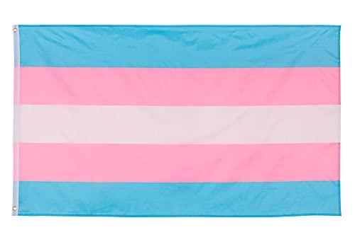 Aricona Transgender-Pride Flagge - Transgender Flagge mit Messing-Ösen - 90 x 150 cm - Wetterfeste Fahnen für Fahnenmast - 100% Polyester