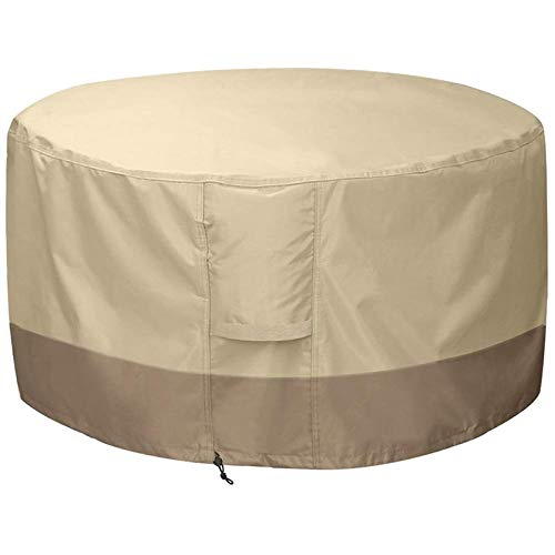 XiaoOu Protective Cover for Fire Pit Cover Round-210D Oxford Cloth Heavy Duty Patio Outdoor Fire Pit Table Cover Round Waterproof Fits for 34/35/36 Inc