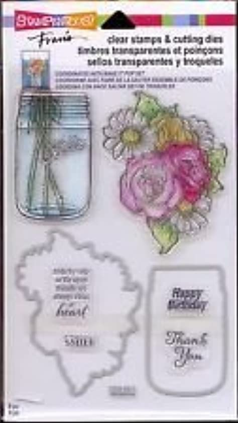 Stampendous Clear Stamps & Cutting Dies ~ Hello Birthday Mason Jar Flowers qg971449964812