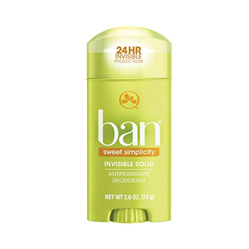 Ban Sweet Simplicity 24-hour Invisible Antiperspirant, Solid Deodorant for Women and Men, Underarm Wetness Protection, with Odor-fighting Ingredients, 2.6oz