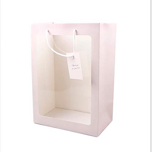 #N/A Transparenter Blumenstrauß Geschenkbeutel Blumenhandtaschen Hochzeitsfest Partypapier Verpackungstasche Transparente Verpackungstasche für kleine Geschenke Süße Behälter (Pink, L)