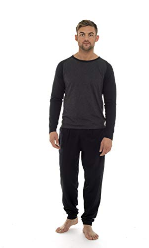 Mens Pyjamas 100% Super Soft Cotton Men Pjs Set Pajamas for Man Nightwear Loungewear Tracksuit (Grigio Nero, XL)