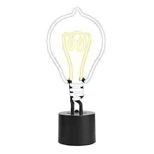 Amped & Co - Lámpara de Escritorio de neón, Estilo Vintage, Estilo Edison, Color Blanco y Amarillo, tamaño Grande, 35,5 x 15,2 cm, letreros de neón para decoración del hogar para Habitaciones únicas