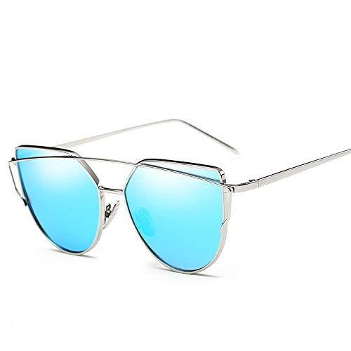 OcchialidaSoledaUomo Occhiali da Sole Sfumati Moda Uv400 per Donna Uomo Occhiali da Vista Ottici Vintage Cat Eye Specchio in Metallo Occhiali da Vista Classici Silverblueglasses9