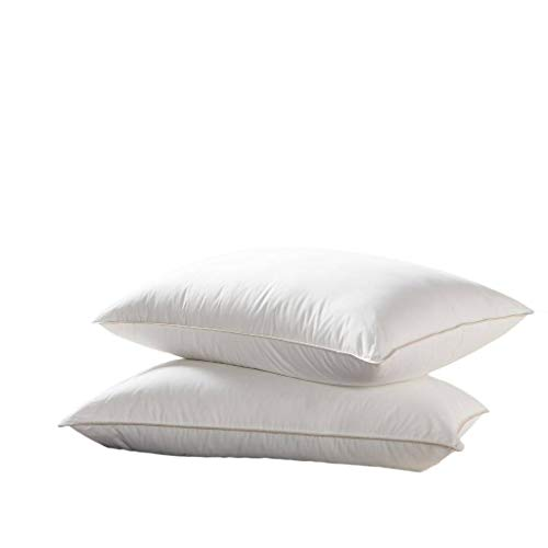 Luxurious Goose Down Pillow - 500 Thread Count Egyptian Cotton, Soft, Standard Size, Set of 2