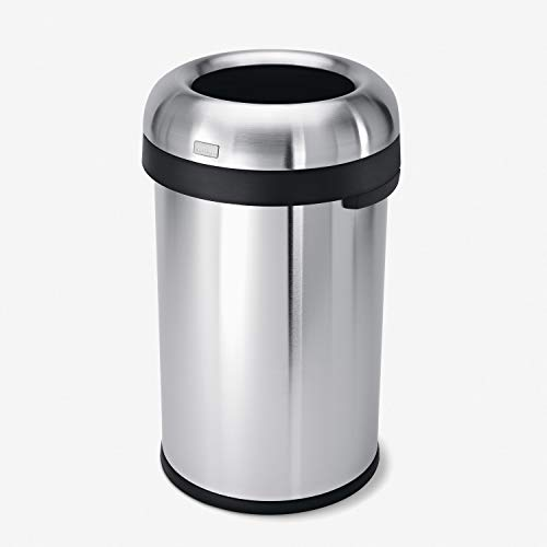 simplehuman 80 Liter / 21.1 Gallon Bullet Open Top Trash Can Commercial Grade Heavy Gauge, Brushed Stainless Steel