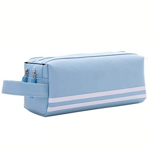 Grande capacità della Matita astucci con Cerniera Solido Colore Tela Sacchetto della Matita Studente di Scuola Forniture Cancelleria Storage Bag (Color : Light Blue)
