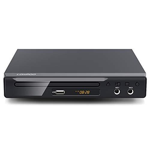 LONPOO Metallschale DVD Player HDMI & SCART & USB & MIC* 2, Code-Free (mit HDMI & RCA Kables)