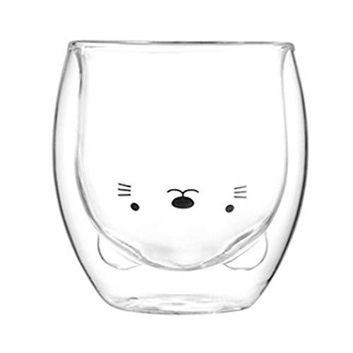 ARONTIME Tazas de oso lindo, doble pared, tazas de vidrio de té animal, jugo de leche, tazas de cristal para el hogar para cumpleaños (gato, 360 ml)