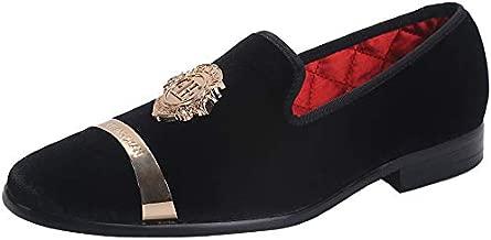 ELANROMAN Black Loafers Mens Velvet Dress Shoes for Men with Gold Buckle Plate Fashion Designer Party Shoes US 13 EUR 47 Feet Lenght 310mm