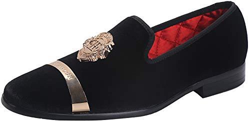 ELANROMAN Men's Velvet Loafers Dress Shoes for Men with Gold Buckle Fashion Party Wedding Shoes Black US 10 EUR 44 Feet Lenght 295mm