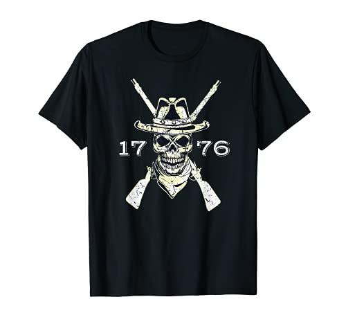 Revolucionario Pioneer Skull 1776 Vintage desgastado Camiseta