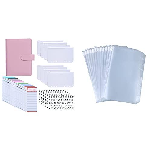 Antner A6 PU Leather Binder Expense Budget Sheets Cash Envelopes System (Pink) Bundle   12pcs A6 Binder Pockets