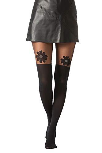 Jay-Fashionbox Damen Strumpfhose in Overknee Look 40/120 DEN mit Blumen Motiv Schwarz