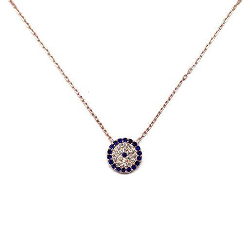MYSTIC JEWELS by Dalia- Halskette aus 925er-Sterlingsilber mit Nazar-Anhänger, rund, mit Zirkonia (Rosa)