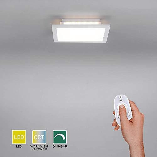 LED Panel flach, 30x30, dimmbare Decken-Lampe mit indirekter Deckenbeleuchtung   Farbtemperatur mit Fernbedienung einstellbar, warmweiss - kaltweiss   Decken-Leuchte für Wohnzimmer, Küche und Bad