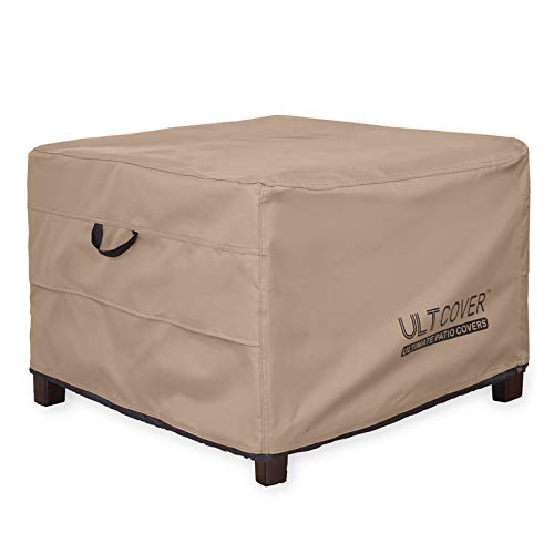 ULTCOVER Waterproof Patio Ottoman Cover Square Outdoor Side Table Furniture Covers Size 27L x 27W x 18H inch