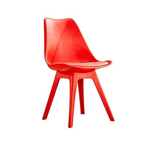 WYBW Silla de comedor para el hogar, silla de plástico resistente Silla de comedor con cojín de esponja Taburete de salón con respaldo alto Mostrador de sala de estar para adultos Cocina Taburete de