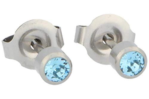 PUREgrey - Pendientes de imitación aguamarina (3,95 mm)