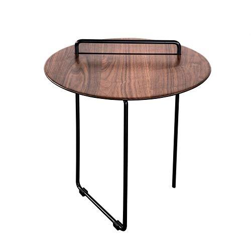 Jcnfa-bijzettafel Vintage ronde eindtafel, Nesting Ferrometalen handvat, moderne industriële nachtkastjes, bank zij-tafel hout metaal, voor slaapkamer woonkamer,zwarte walnoot